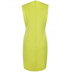 Elegant Yellow Sleeveless Ruffled Spliced Midi Dress For Women - YELLOW S