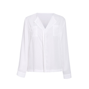 Elegant V-Neck Solid Color Ruffled Blouse For Women - White - L