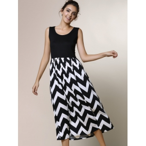 Zigzag Sleeveless A Line Summer Dress -