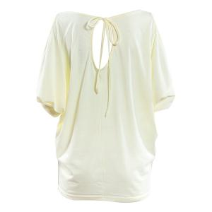 Stylish Women's Scoop Neck Hollow Out Pure Color T-Shirt -