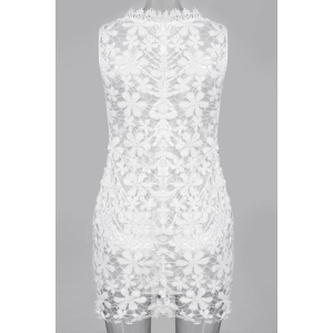 Sleeveless Lace See Thru Club Dress - WHITE M