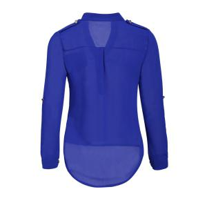 Simple Style V-Neck Chiffon Solid Color Long Sleeve Women's Blouse - BLUE M