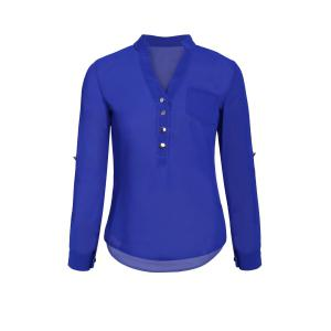 Simple Style V-Neck Chiffon Solid Color Long Sleeve Women's Blouse