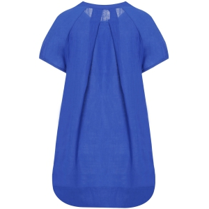 Casual Scoop Neck Short Sleeve Loose-Fitting Women's Dress - BLUE M