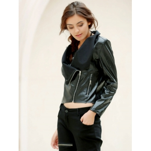 Fashionable Turn-Down Collar Long Sleeve Zippered PU Leather Jacket For Women -
