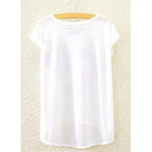 Short Sleeve Anchor Printed High-Low Hem T-Shirt - WHITE ONE SIZE(FIT SIZE XS TO M)