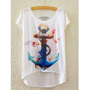 Short Sleeve Anchor Printed High-Low Hem T-Shirt
