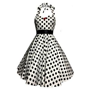 Halter Polka Dot 50s Swing Dress