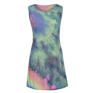 Stylish Round Collar Sleeveless Printed Colorful Women's Dress