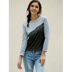 Casual Jewel Neck Color Splicing Diamonds T-Shirt For Women - GRAY L