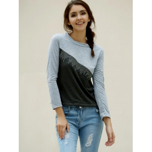 Casual Jewel Neck Color Splicing Diamonds T-Shirt For Women - GRAY M