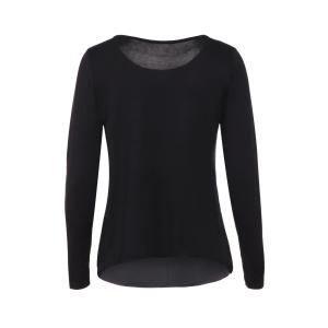 Graceful Jewel Neck Sequin Spliced Long Sleeve Blouse For Women