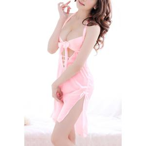 Alluring Halter Hollow Out Solid Color Backless Women's Babydoll -