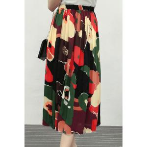 High Waist Floral Midi Skirt - RED S