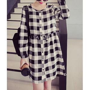 Casual Jewel Neck Long Sleeves Lace Up Dress For Women -