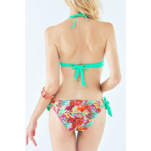 Stylish Halter Self-Tie Floral Women's Bikini Set - LAKE GREEN M
