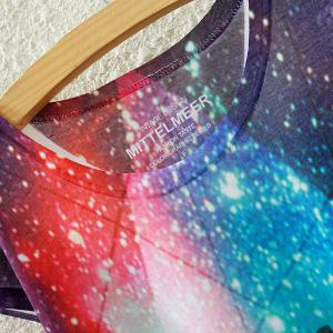 Chic Scoop Neck Colorful Starry Sky Print High Low Short Sleeve T-Shirt For Women -