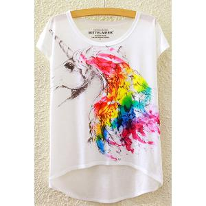 Rainbow Unicorn Print High-Low T-Shirt - White - One Size(fit Size Xs To M)