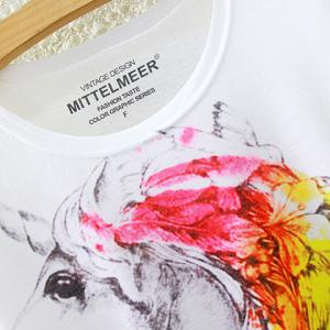 Rainbow Unicorn Print High-Low T-Shirt - WHITE ONE SIZE(FIT SIZE XS TO M)