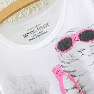 Cute Round Neck Short Sleeve Lion and Tiger Print High-Low Hem T-Shirt For Women -
