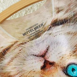 Cute Scoop Neck Kitty Print High Low Short Sleeve T-Shirt For Women -