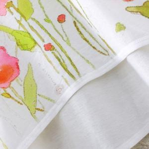 Country Style Round Neck Short Sleeve Watercolor Floral Print High-Low Hem T-Shirt For Women -