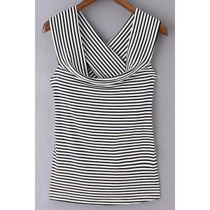 Trendy Off The Shoulder Striped Back Crossed T-Shirt For Women