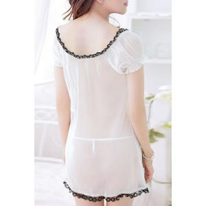 Trendy Plunging Neck See-Through Bowknot Design Women's Babydoll -