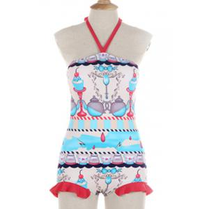 Cute Halter Candle Print Flounce Backless One-Piece Swimwear For Women -