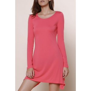 Stylish Scoop Neck Long Sleeve Asymmetrical Solid Color Women's Dress - Pink - Xl
