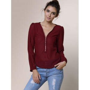 Stylish V-Neck Long Sleeve Zipper Design Chiffon Solid Color Women's Blouse - WINE RED S