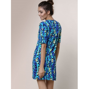Short Sleeve Leopard Print T Shirt Dress - AS THE PICTURE L