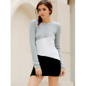 Simple Scoop Neck Long Sleeve Color Blcok Bodycon Women's Dress - LIGHT GRAY M