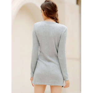 Simple Scoop Neck Long Sleeve Color Blcok Bodycon Women's Dress - LIGHT GRAY S