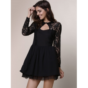 Keyhole Lace Panel Cocktail Night Out Dress - BLACK S