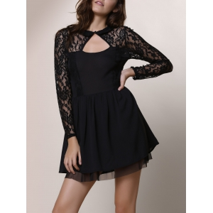 Keyhole Lace Panel Cocktail Night Out Dress - Black - Xl