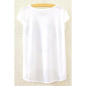 Stylish Round Neck Short Sleeve Building and Letter Print High-Low Hem T-Shirt For Women -