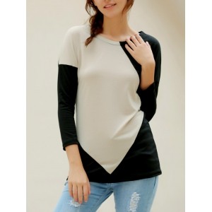 Elegant V-Neck Color Block Long Sleeve Loose-Fitting T-Shirt For Women