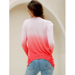 Stylish Collarless Long Sleeve Gradient Color Knitted Women's Cardigan -