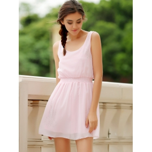Simple Square Neck Sleeveless Waist Drawstring Solid Color Women's Dress - LIGHT PINK S