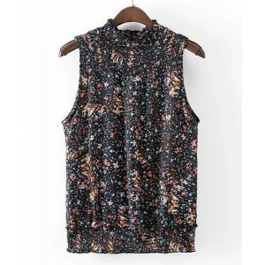 Casual Ruffles Collar Sleeveless Button Fly Print T-Shirt For Women