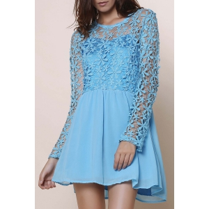 Long Sleeve Lace Splicing Hollow Out Crochet Mini Dressen - Blue - M
