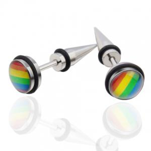 Pair of Vintage Colored Stainless Steel Cone Earrings For Men