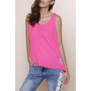 Stylish Scoop Collar Sleeveless Bowknot Design Embroidery Women's Tank Top - Rose - S