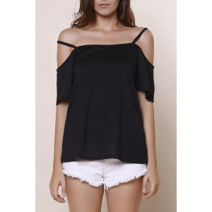 Sexy Spaghetti Strap Solid Color Short Sleeve T-Shirt For Women