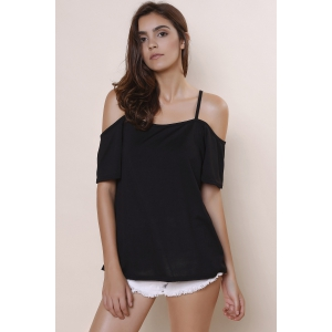 Sexy Spaghetti Strap Solid Color Short Sleeve T-Shirt For Women - BLACK XL