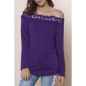Sexy Off-The-Shoulder Lace Spliced Hem Purple Blouse For Women