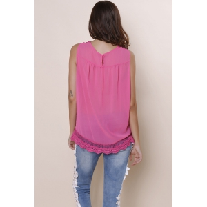 Sweet Hollow Out Lace Spliced Solid Color Tank Top For Women - ROSE L