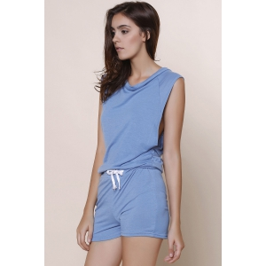 Fashioanble Scoop Neck Sleeveless Solid Color Drawstring Romper For Women -
