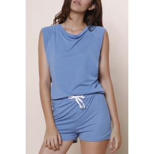 Fashioanble Scoop Neck Sleeveless Solid Color Drawstring Romper For Women